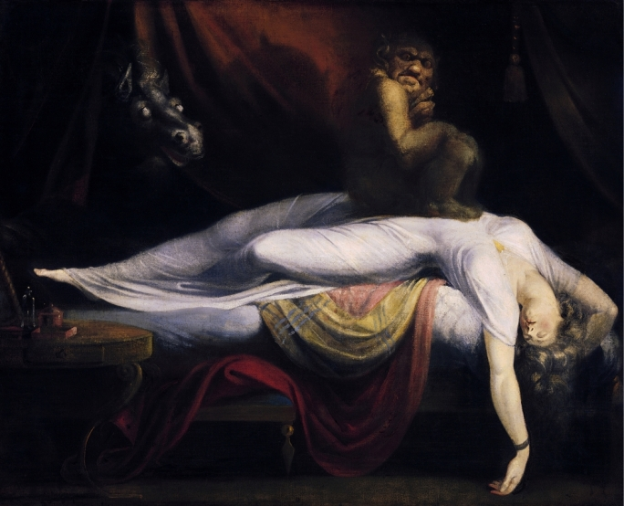 The Nightmare (1781) is an oil painting by Anglo-Swiss artist Henry Fuseli and has remained Fuseli's best-known work. The canvas seems to portray simultaneously a dreaming woman and the content of her nightmare. The incubus and the horse's head refer to contemporary belief and folklore about nightmares