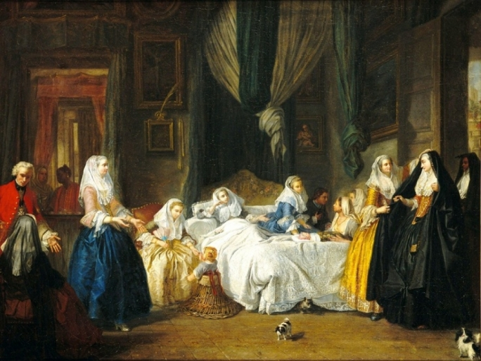 Antoine de Favray's 'The Visit', confirming a stereotypical view of Maltese women in the 18th century, but Yosanne Vella's research shows that women of the time were not just confined to their homes and parlours