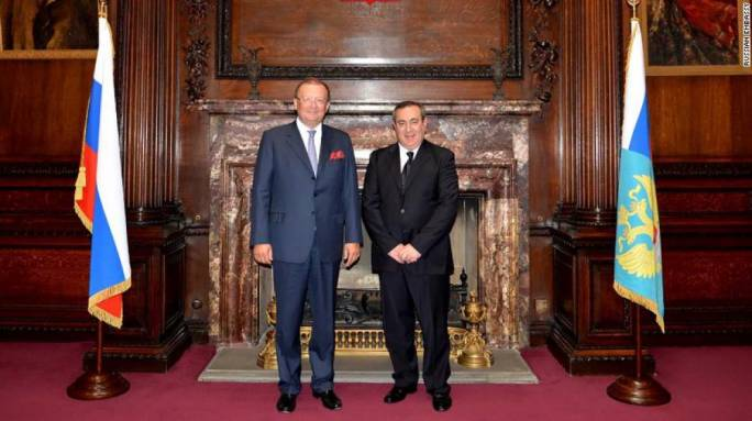 Joseph Mifsud with the Russian ambassador to the UK Alexander Yakovenko in May 2014.