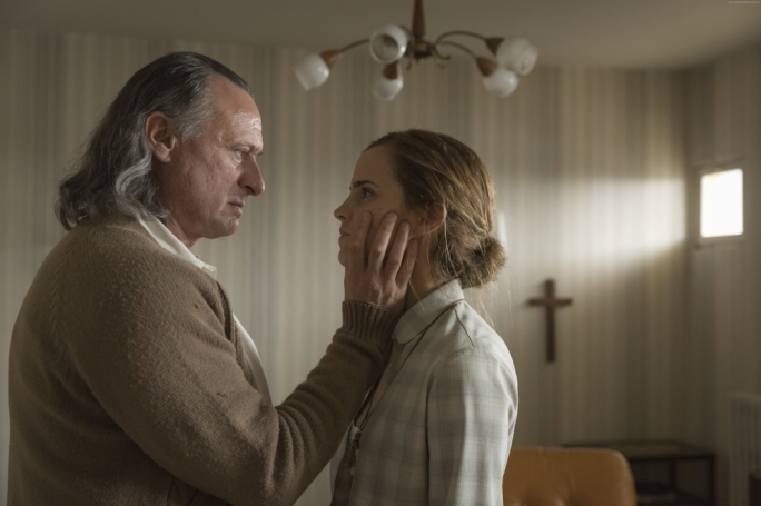 Creeper preacher: Michael Nyqvist thrills to the part of former Nazi religious cult leader Paul Schafer with disturbing gusto