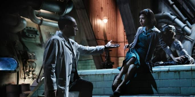 For love of the fish-man: Michael Stuhlbarg, Sally Hawkins and Doug Jones form an unlikely alliance in Guillermo Del Toro's Oscar-winning tenth feature film