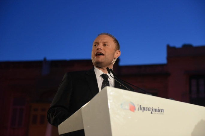 Prime Minister Joseph Muscat addresses a political activity in Birgu. Photo: Chris Mangion
