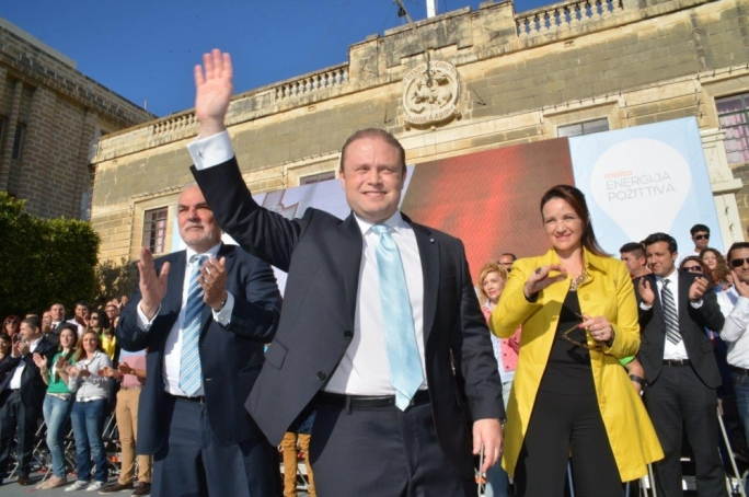 Joseph Muscat and Michelle Muscat during Labour's May Day rally in 2014