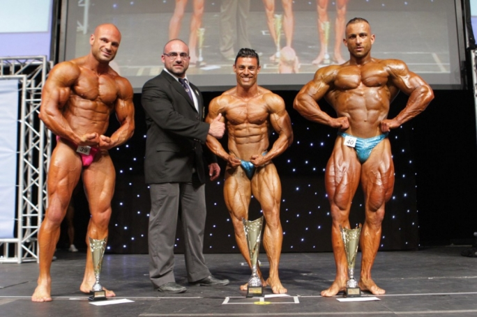 Malta International Grand Prix top three Men's Bodybuilding. Photo by Ray Cassar