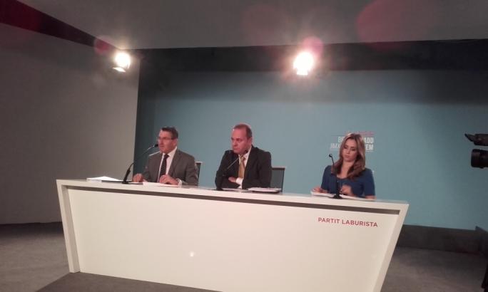Labour MP Silvio Parnis, economy minister Chris Cardona and PL secretary Lydia Abela address a press conference