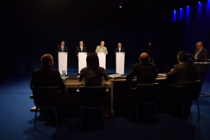 The four candidates in their first televised debate
