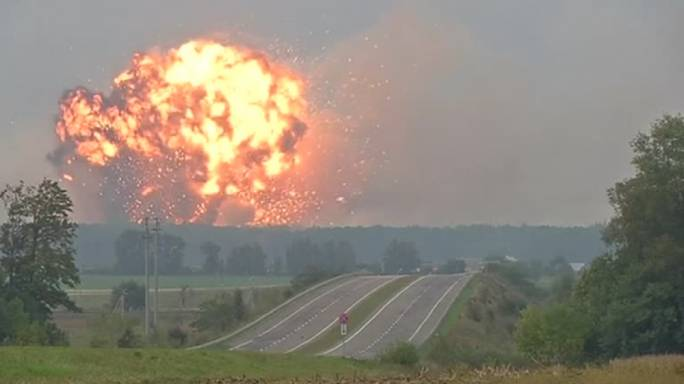 Massive Ammunition Depot explosion in Ukraine (Photo: NTD Television)