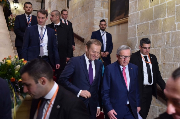 Donald Tusk (left), President of the European Council and Jean-Claude Juncker, President of the European Commission arriving at the Mediterranean Conference Centre • Photo: Jeremy Wonnacott, DOI