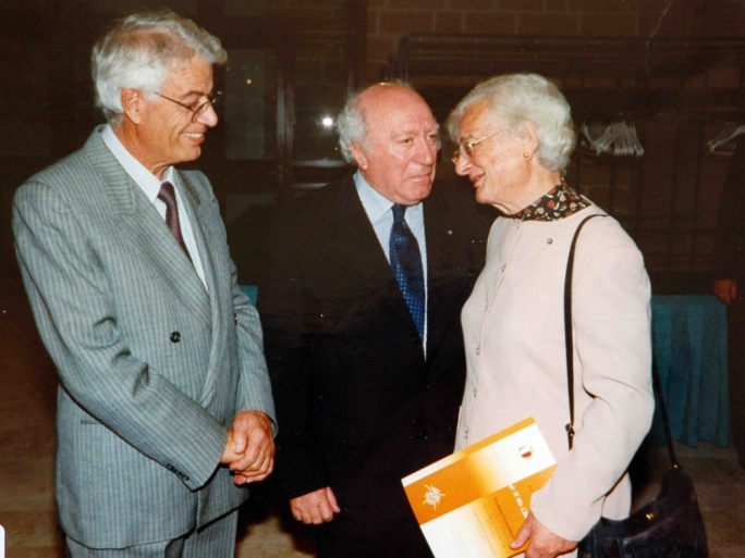 Guido de Marco (centre used to converse privately with so many Labour personalities as if they were his bosom friends (pictured are Daniel Micallef, left, and Agatha Barbara, right). Some of them were actually friens of his, I later discovered