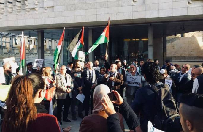 Maltese and Palestinian speakers address solidarity gathering organised by the Embassy of the State of Palestine and Moviment Graffitti