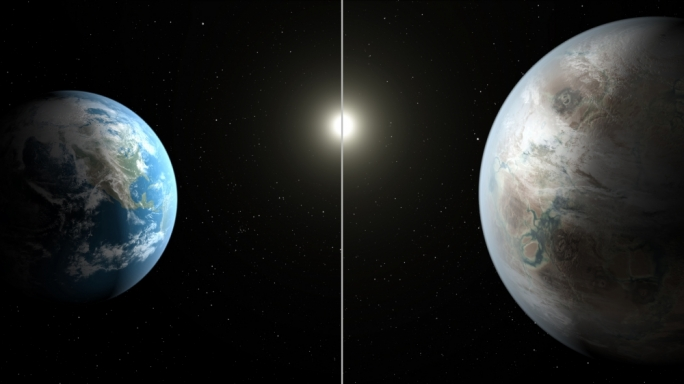 Earth 2.0 (right) scaled against our own earth