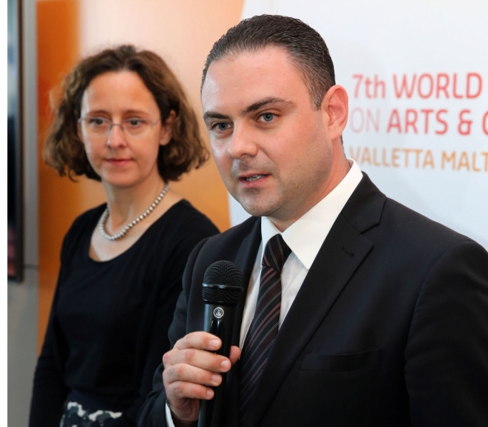 Nina Obuljen has been appointed programme director for the seventh edition of the summit. Front: Culture minister Owen Bonnici
