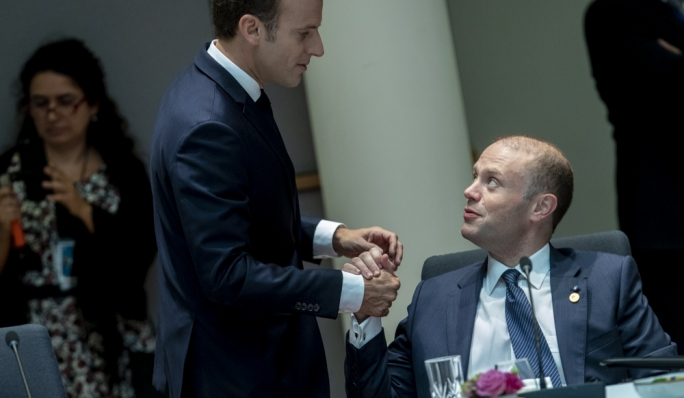 Prime Minister Joseph Muscat with French President Emmanuel Macron