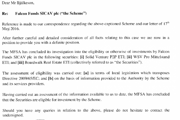 Letter sent to the Swedish pensions agency by the MFSA on 19 May, after TV4's Cold Facts recorded their interviews in Malta.