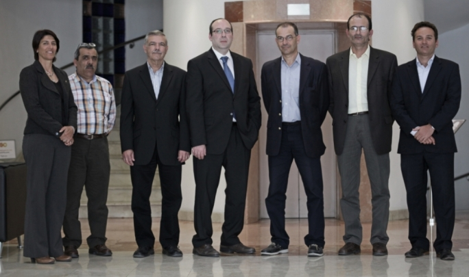 (from left) GO Sports winners Joseph Meli, Joseph Pisani, Anthony Miceli Saydon,  George Schembri, Alfred Farrugia flanked by Laurie Pace, Brand Marketing Co-ordinator and Kurt Camilleri, Head of Marketing at GO.