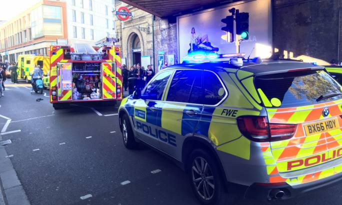 Emergency services attending an incident at Parsons Green station in west London. (Photo: Richard Aylmer-Hall/PA)