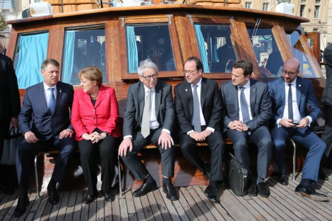 Making the sea crossing: EU leaders in Malta earlier this week cross the Grand Harbour during a summit in which they discussed migration. From left: Klaus Iohannis of Romania, German Chancellor Angela Merkel, EC president Jean-Claude Juncker, French president Francois Hollande, and Luxembourg and Belgian prime ministers Xavier Bettel and Charles Michel