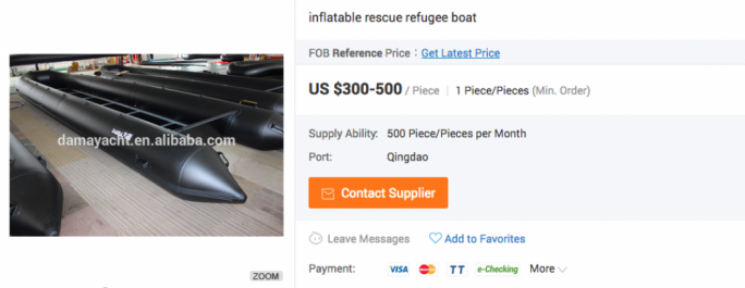 inflatable rescue refugee boats can be bought on Alibaba.com for as little as $300