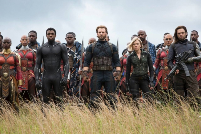 Tip of the iceberg: Danai Gurira (Okoye), Chadwick Boseman (Black Panther), Chris Evans (Captain America), Scarlett Johansson (Black Widow) and Sebastian Stan (Bucky Barnes) are just a fraction of the superhero pantheon featured in this sprawling franchise touchstone from Marvel