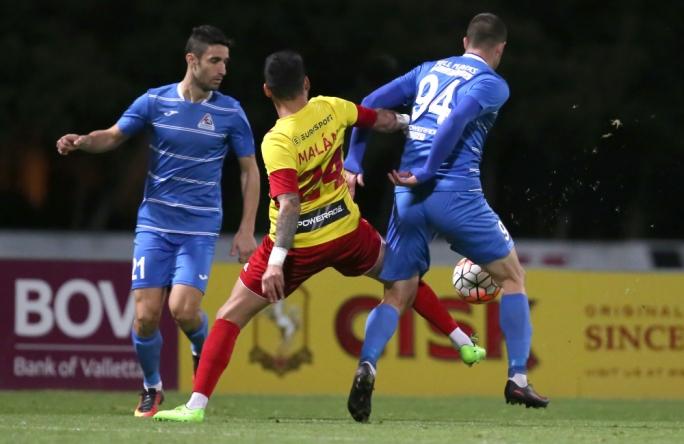 Gonzalo Malan of Birkirkara challenging Stevan Racic for the ball. Photo: Christine Borg