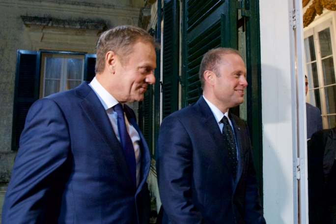 Prime Minister Joseph Muscat and European Council President Donald Tusk
