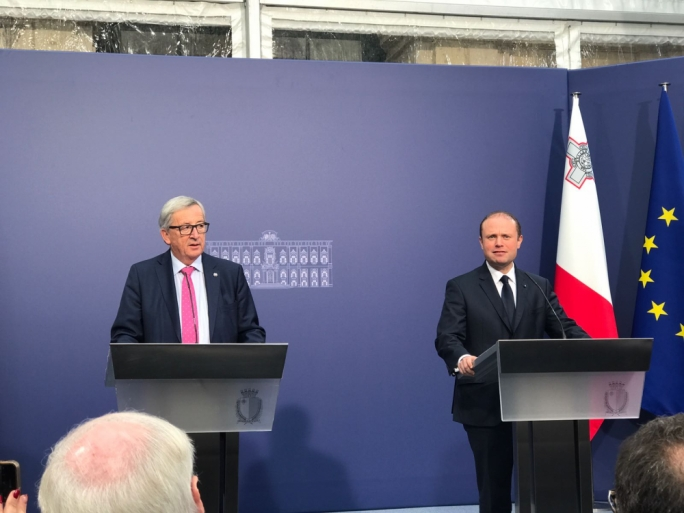European Commission Jean-Claude Juncker (left) with Prime Minister Joseph Muscat