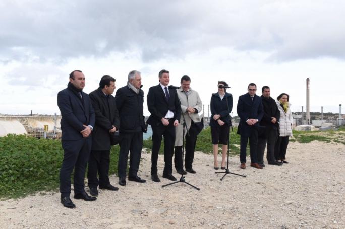 Minister Konrad Mizzi addresses a press conference at Delimara