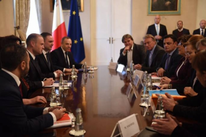 Prime Minister Joseph Muscat and his chief of staff Keith Schembri meeting MEPs during the rule of law delegation's visit last December