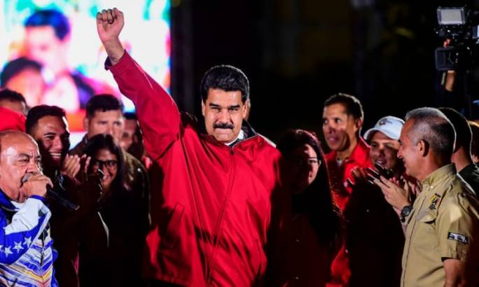 Venezuelan president Nicolas Maduro celebrates the results of the election in Caracas