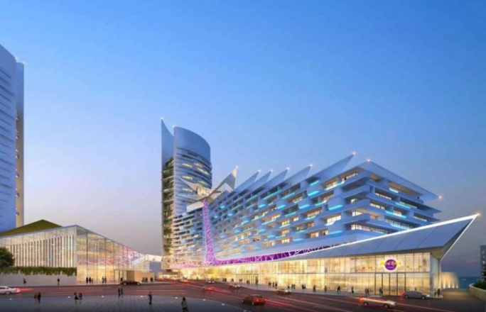 The Hard Rock hotel that Seaport Franchising plan to develop on the site of the ITS college at St George's Bay. Towering behind it will be the new Corinthia towers