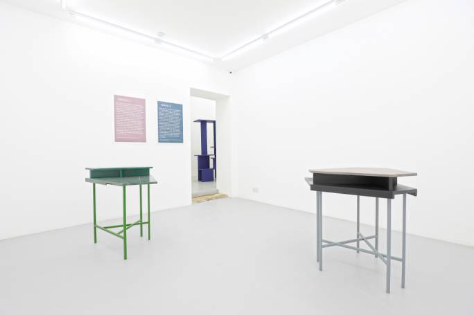 Tables for the 1%, 2018, marble, timber, box steel, paint, poster print by Tom Van Malderen. Courtesy of the artist and Malta Contemporary Art