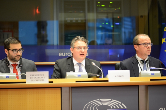 OPM Minister Konrad Mizzi addressing MEPs during an energy policy hearing (Photo: Ray Attard/EU2017MT)