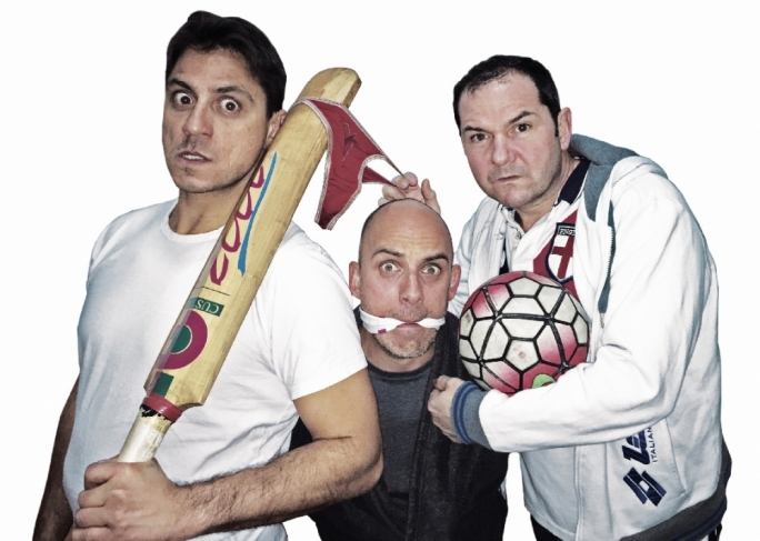 The cast of God's Official (from left): John Montanaro, Chris Dingli  and Steve Casaletto