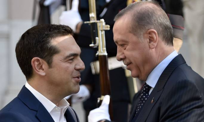 Greek prime minister Alexis Tsipras (left) welcomes Recep Tayyip Erdogan to Athens on Thursday. Erdogan's visit is the first by a Turkish president in 65 years (Photo: Getty Images)