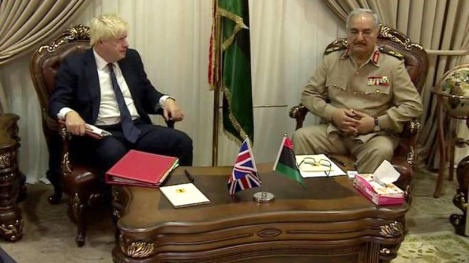 UK Foreign Secretary Boris Johnson with Field Marshal Khalifa Haftar, in the first ever meeting between a Western leader and the renegade military commander