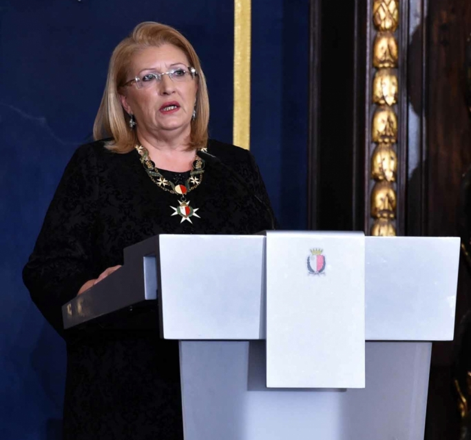 Making waves: President Marie Louise Coleiro Preca delivering her Republic Day address