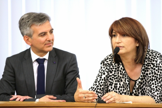 PN secretary-general Rosette Thake (right) with Opposition leader Simon Busuttil