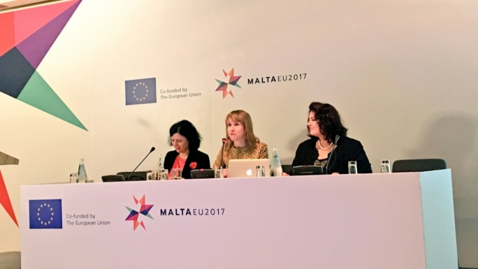 Civil liberties minister Helena Dalli (left) and European Commissioner Vera Jurova (right) address a conference on domestic violence