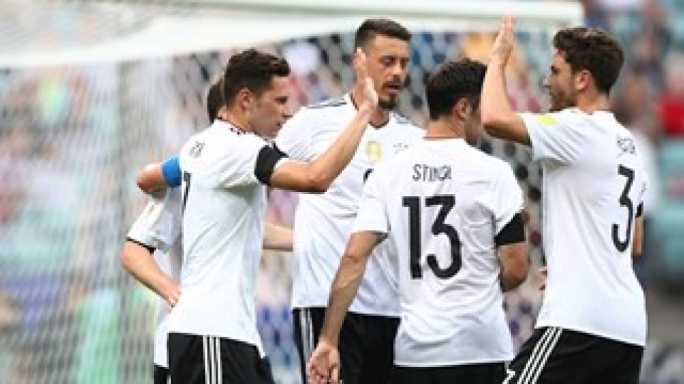 The Germans celebrating one of their goals
