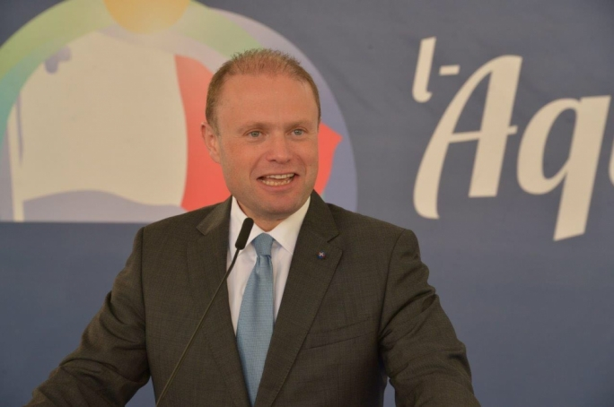 Prime Minister and Labour leader Joseph Muscat addresses political activity in Qala