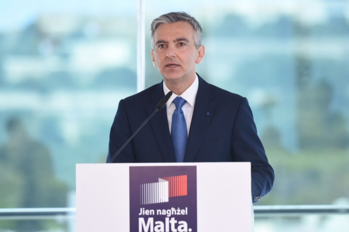PN leader Simon Busuttil addresses reporters at a press conference