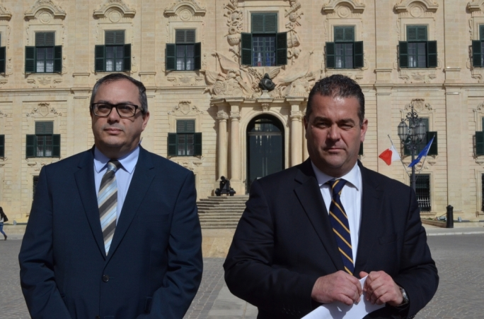 Alex Perici Calascione, pictured here with outgoing PN deputy leader for party affairs, Beppe Fenech Adami