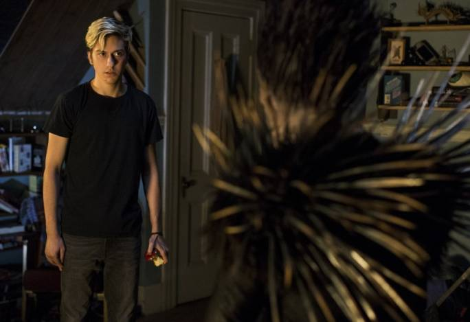 Prickly conscience: Nat Wolff (left) and Willem Defoe strike a Faustian bargain in Netflix's manga-and-anime adaptation Death Note