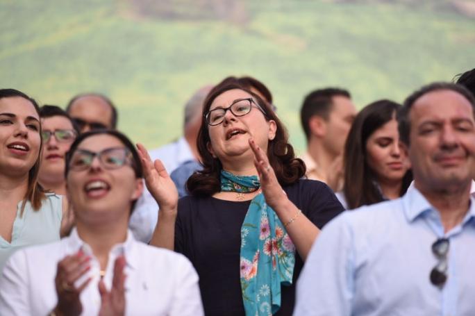 Partit Demokratiku leader Marlene Farrugia at a PN mass meeting in Gozo. Photo: James Bianchi
