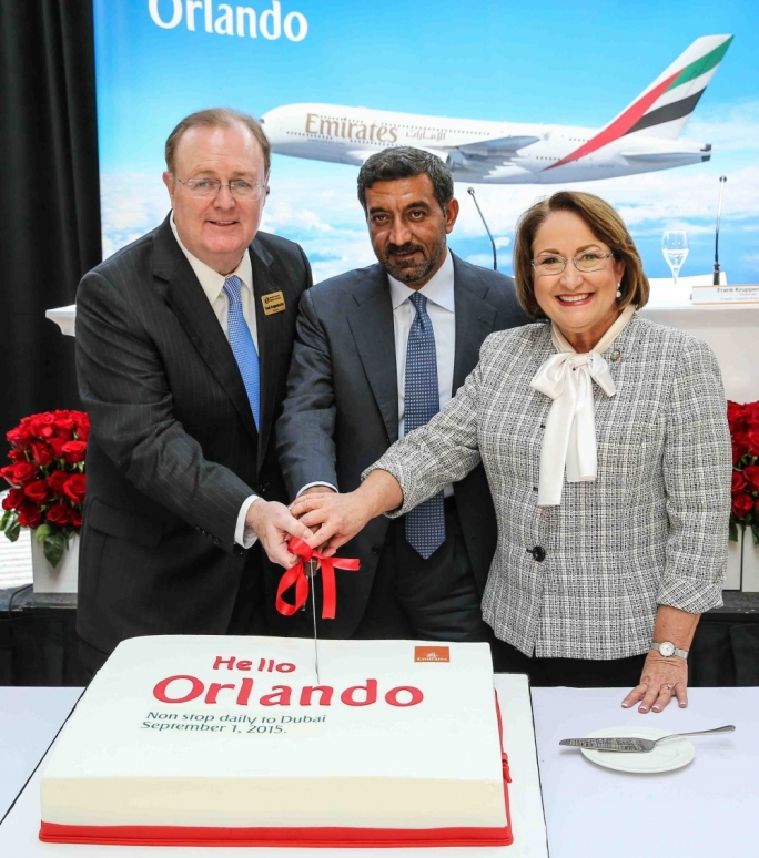 From left) Frank Kruppenbacher, Chairman of the Greater Orlando Aviation Authority, Sheikh Ahmed bin Saeed Al Maktoum, Chairman and Chief Executive of Emirates Airline & Group, and Teresa Jacobs, Orange County Mayor