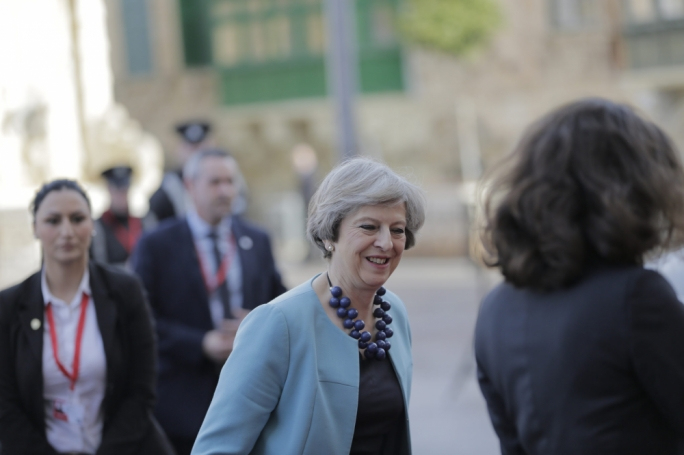 UK Prime Minister Theresa May on her arrival at Valletta