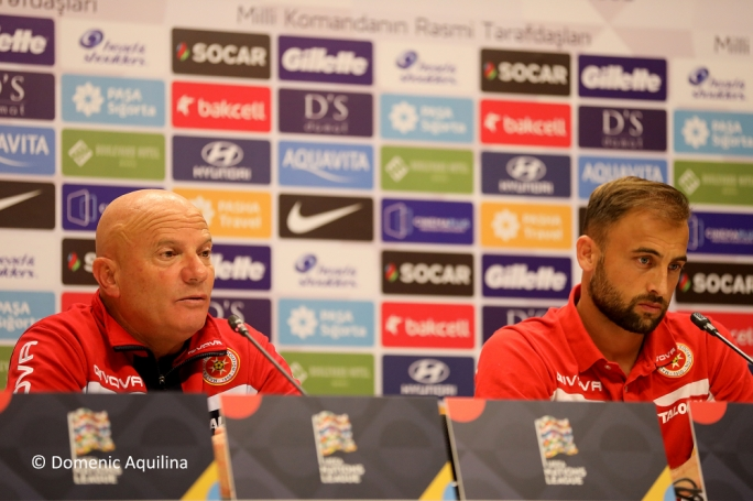 Coach Ray Farrugia and Andrei Agius answering questions ahead of the match between Azerbaijan and Malta. Photo: Dominic Aquilina / MFA