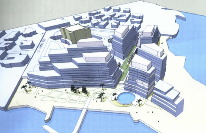 The proposed design for a new five-star hotel and residential units presented by the Montebello Brothers in 2009
