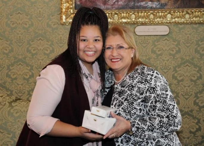Destiny together with her excellency Marie - Louise Coleiro Preca
