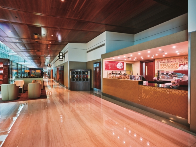 Need a caffiene fix? The Emirates Business Class lounge offers freshly- brewed beverages prepared by Costa Coffee baristas
